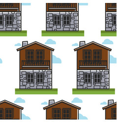 bulgarian architecture seamless pattern house vector image