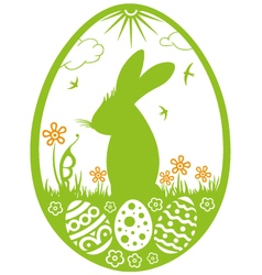 Bunny Silhouette with meadow vector