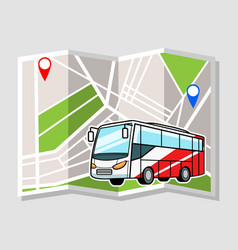 Bus transport with city map background vector