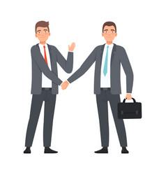 business partners handshaking character vector image
