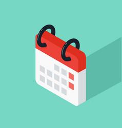 calendar icon isometric flat design vector image