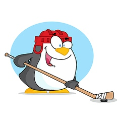 Cartoon penguin playing hockey vector