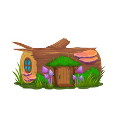 Cartoon stump house or dwelling gnome wizard vector