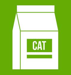 Cat food bag icon green vector