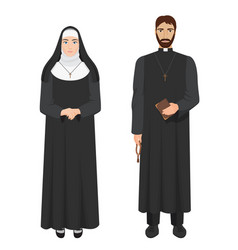 Catholic priest and nun realistic vector