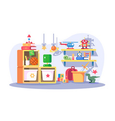 Children room modern interior with toys vector