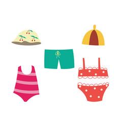 Children swimsuit set - collection summer vector
