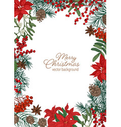 christmas greeting card template with festive wish vector image