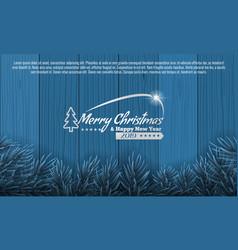 christmas with fir branch border frame on bottom vector image