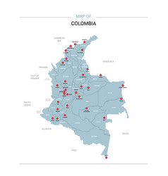 Colombia map with red pin vector