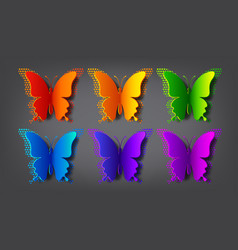 colored paper butterflies with shadow and vector image