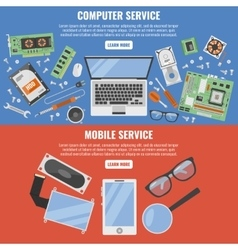 Computer And Mobile Service Banner Set vector