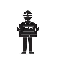 contractor black concept icon contractor vector image