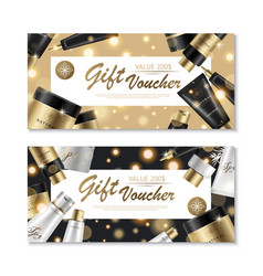 Cosmetic gift voucher design vector