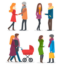 couple on date parents with children walk outdoor vector image
