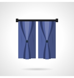 Curtains for bedroom flat color icon vector image