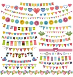 Cute bunting and garland set vector image