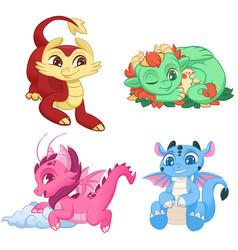 cute little dragons set colorful adorable vector image