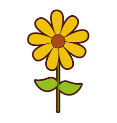 cute sunflower garden isolated icon vector image