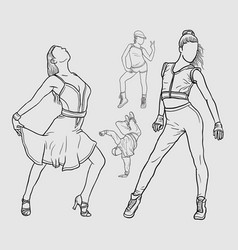 dancers line art artistic drawing style vector image