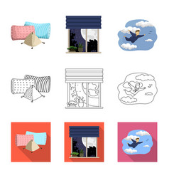 Design of dreams and night symbol set of vector