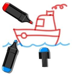 Doodle ship vector