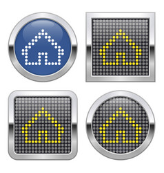 Dotted icon home on glossy button in four vector