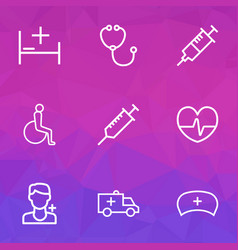 Drug icons line style set with disabled syringe vector