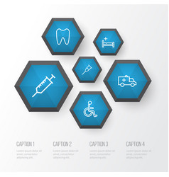 Drug outline icons set collection of car stand vector