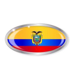 Ecuador flag oval button vector