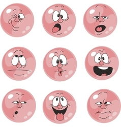 Emotion smiles pink color set 005 vector image