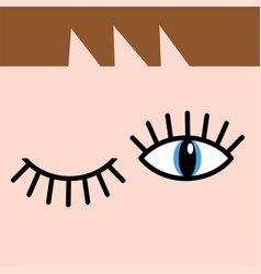 Eye doodles hand drawing open and winking eyes vector