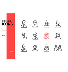 Family members - line design style icons set vector