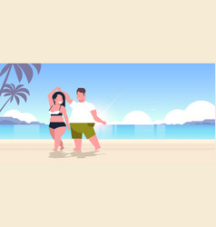 fat obese couple wearing beach clothes overweight vector image