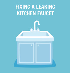 Fixing leaking kitchen faucet banner concept vector