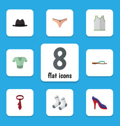 flat icon dress set of foot textile singlet vector image