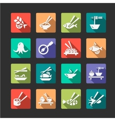 flat seafood icons vector image
