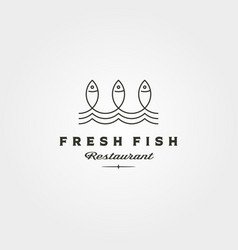 Fresh fish and wave line logo symbol minimalist vector