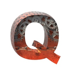 Gears cutted figure q Paste to any background vector