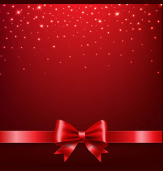 Golden star isolated red bow background vector