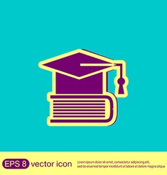 Graduate hat on the book icon teachings vector image