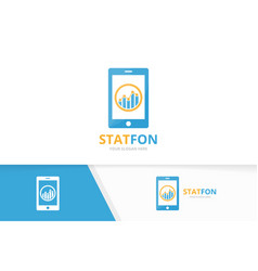 graph and phone logo combination diagram vector image