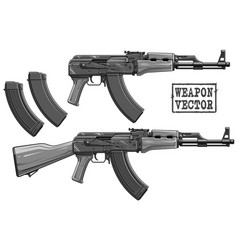 Graphic silhouette modern automatic russian rifle vector