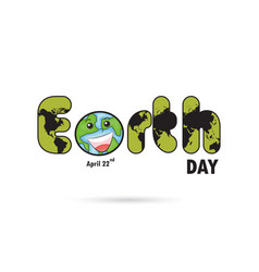 green earth day typographical design elements vector image