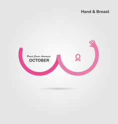 hand shape amp breast iconbreast cancer october vector image