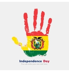 Handprint with the Flag of Bolivia in grunge style vector image
