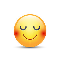 Happy cartoon emoji face with closed eyes smiling vector