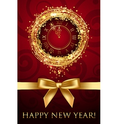 happy new year card with clock and ribbon vector image