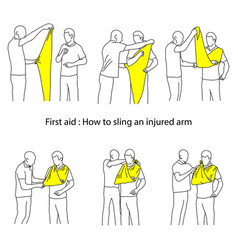 How to sling an injured arm outline vector