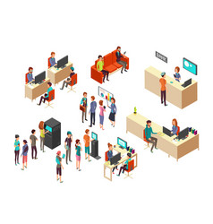 isometric bank clients and employees for 3d vector image